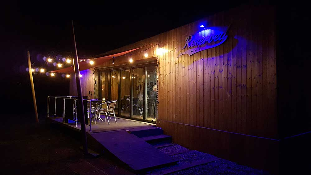 reserved cafe bistro night signage