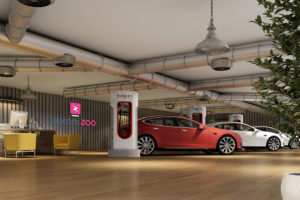 Electric Car Showroom Interior