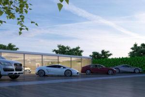 Electric Car Showroom Render