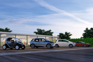 Electric Car Showroom Shipping Container Render