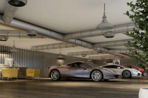 Electric Car Showroom Interior Render
